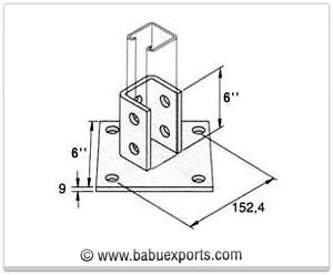 Single Channel Base Plate strut channel brackets bracketry manufacturers exporters india